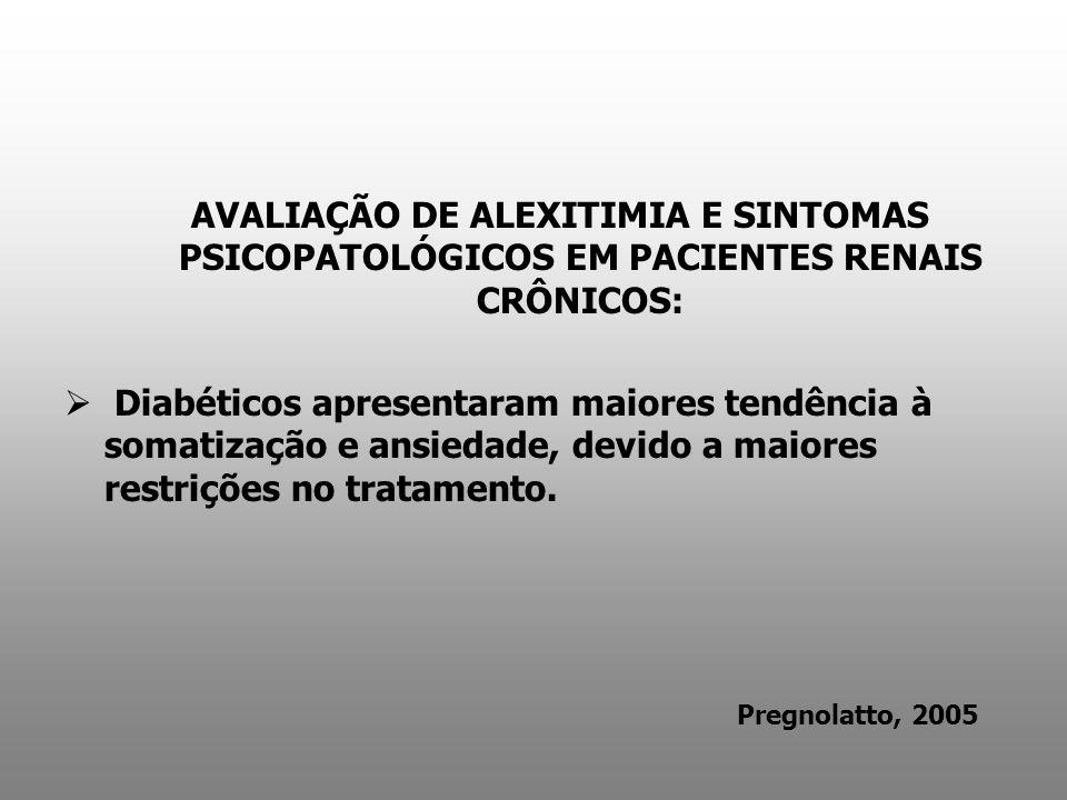 AVALIAÇÃO DE ALEXITIMIA E SINTOMAS PSICOPATOLÓGICOS EM PACIENTES RENAIS CRÔNICOS: Diabéticos apresentaram maiores tendência à somatização e ansiedade,