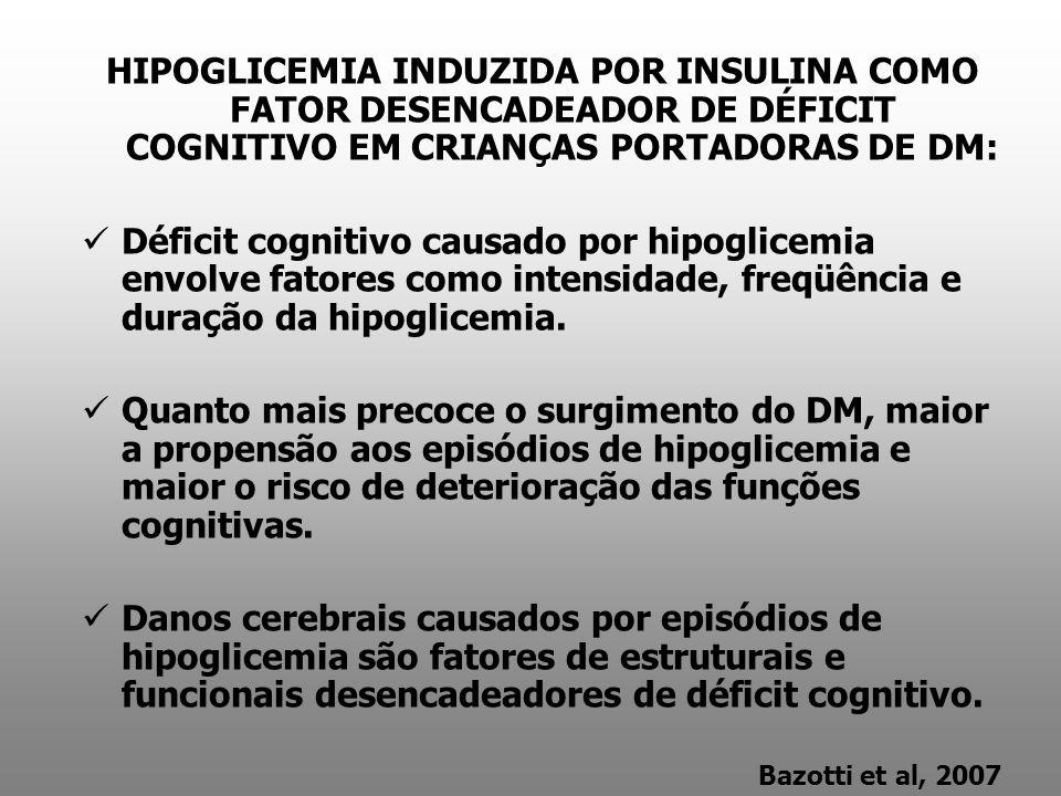 HIPOGLICEMIA INDUZIDA POR INSULINA COMO FATOR DESENCADEADOR DE DÉFICIT COGNITIVO EM CRIANÇAS PORTADORAS DE DM: Déficit cognitivo causado por hipoglice