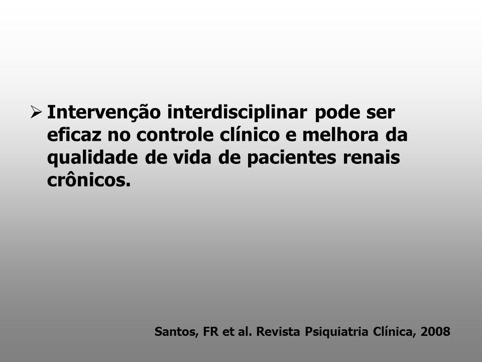 Intervenção interdisciplinar pode ser eficaz no controle clínico e melhora da qualidade de vida de pacientes renais crônicos. Santos, FR et al. Revist