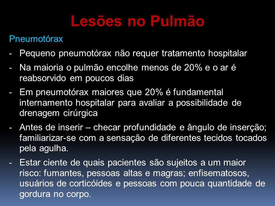 Pneumotórax - Pequeno pneumotórax não requer tratamento hospitalar - Na maioria o pulmão encolhe menos de 20% e o ar é reabsorvido em poucos dias - Em