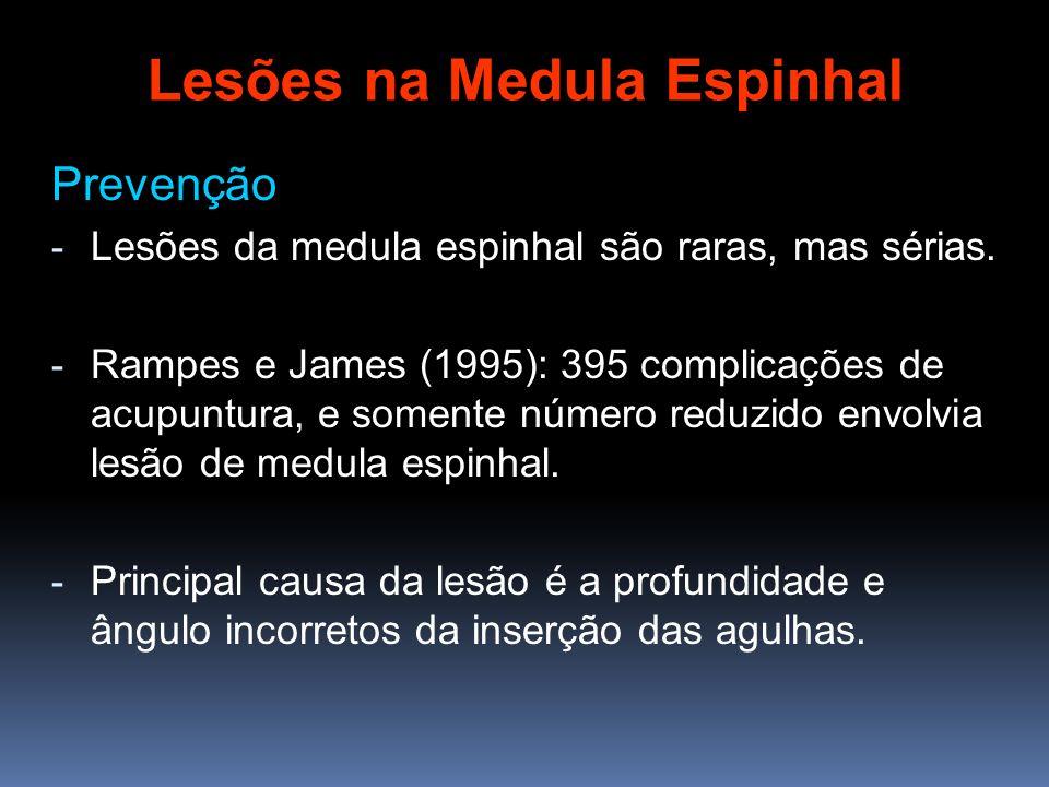 Prevenção - Lesões da medula espinhal são raras, mas sérias. - Rampes e James (1995): 395 complicações de acupuntura, e somente número reduzido envolv