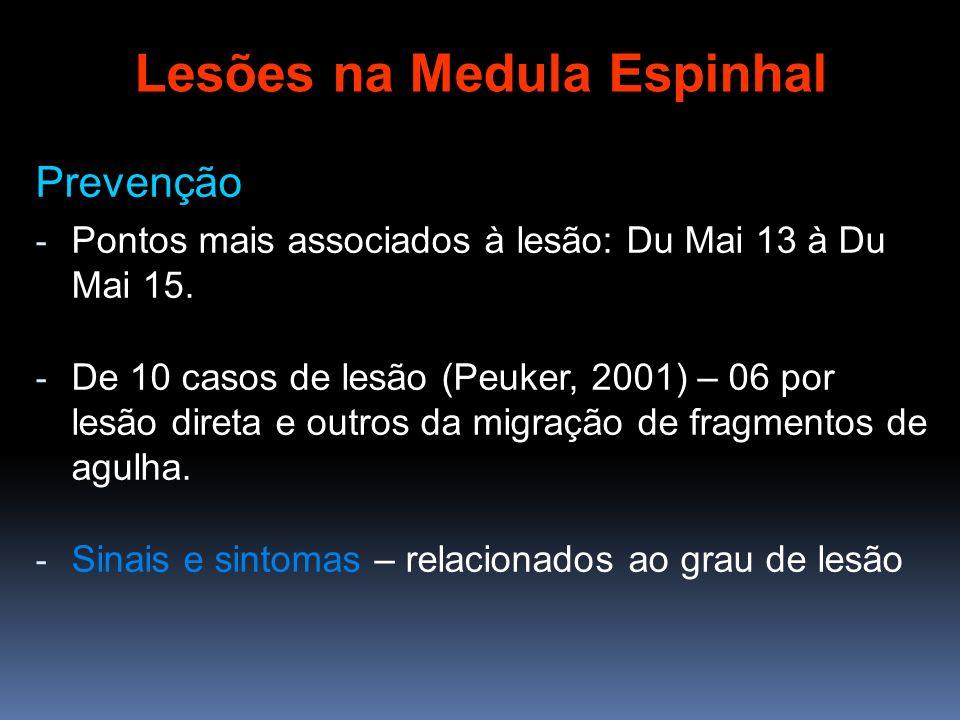 Prevenção - Pontos mais associados à lesão: Du Mai 13 à Du Mai 15. - De 10 casos de lesão (Peuker, 2001) – 06 por lesão direta e outros da migração de