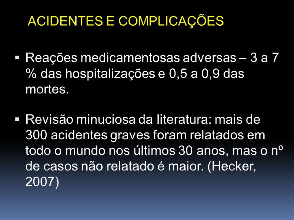 Reações medicamentosas adversas – 3 a 7 % das hospitalizações e 0,5 a 0,9 das mortes. Revisão minuciosa da literatura: mais de 300 acidentes graves fo