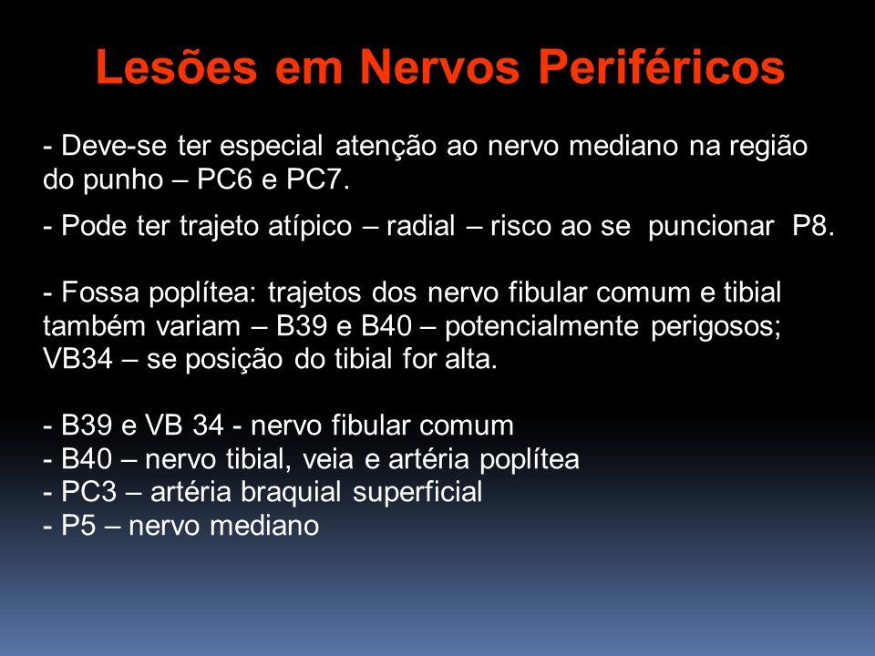 - Deve-se ter especial atenção ao nervo mediano na região do punho – PC6 e PC7. - Pode ter trajeto atípico – radial – risco ao se puncionar P8. - Foss