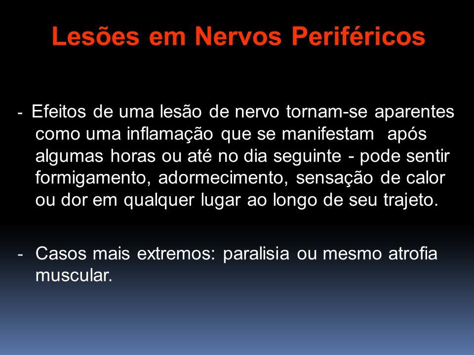 - Efeitos de uma lesão de nervo tornam-se aparentes como uma inflamação que se manifestam após algumas horas ou até no dia seguinte - pode sentir form