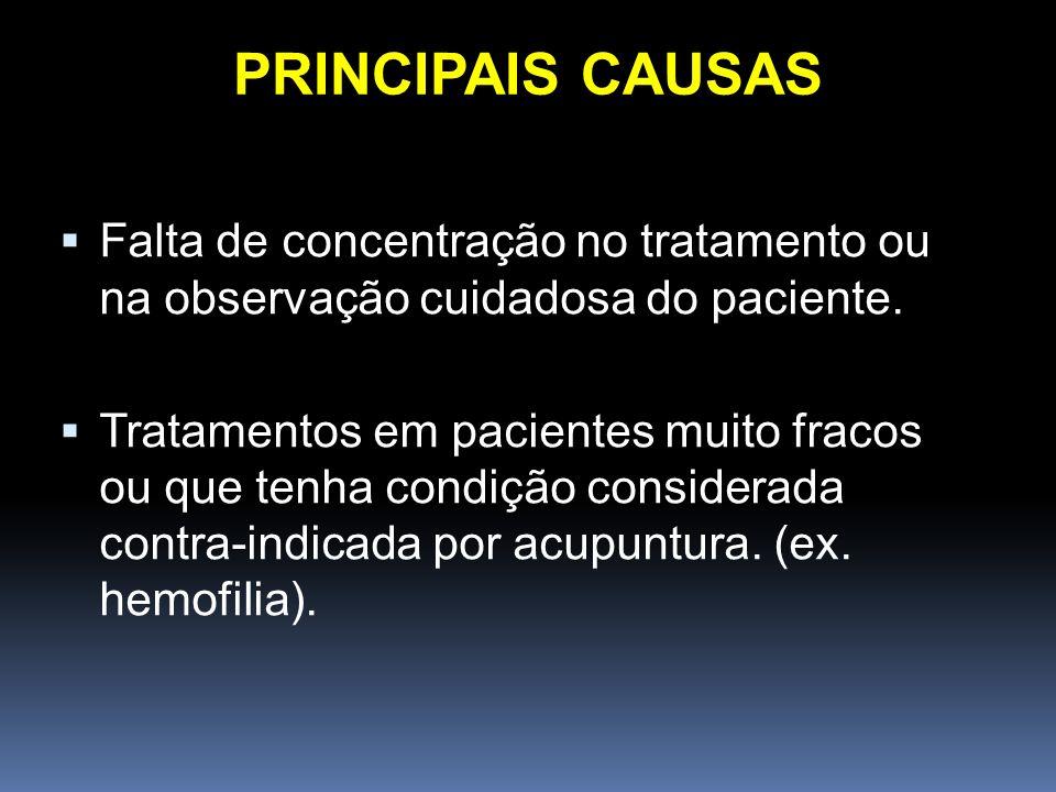 Falta de concentração no tratamento ou na observação cuidadosa do paciente. Tratamentos em pacientes muito fracos ou que tenha condição considerada co