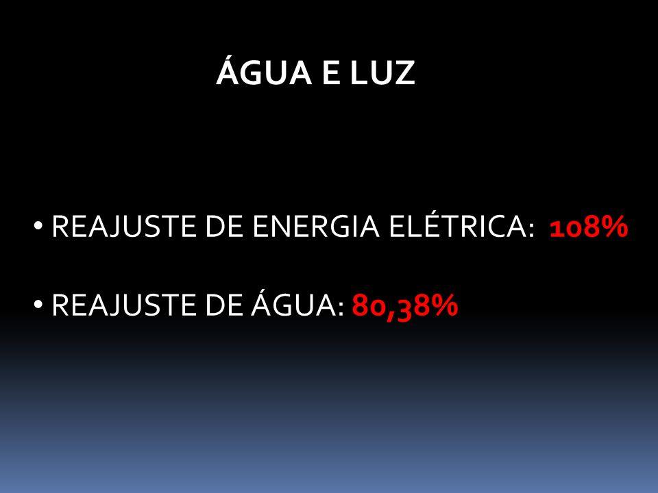 ÁGUA E LUZ REAJUSTE DE ENERGIA ELÉTRICA: 108% REAJUSTE DE ÁGUA: 80,38%