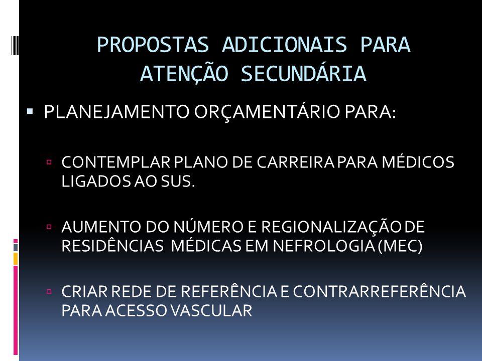 PROPOSTAS ADICIONAIS PARA ATENÇÃO SECUNDÁRIA PLANEJAMENTO ORÇAMENTÁRIO PARA: CONTEMPLAR PLANO DE CARREIRA PARA MÉDICOS LIGADOS AO SUS. AUMENTO DO NÚME