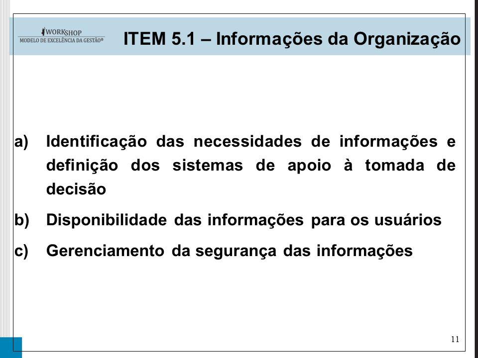 11 a)Identificação das necessidades de informações e definição dos sistemas de apoio à tomada de decisão b)Disponibilidade das informações para os usu