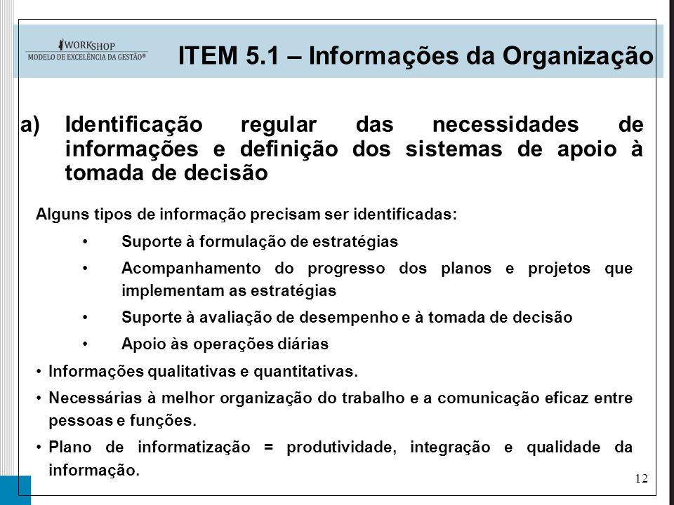 12 ITEM 5.1 – Informações da Organização a)Identificação regular das necessidades de informações e definição dos sistemas de apoio à tomada de decisão
