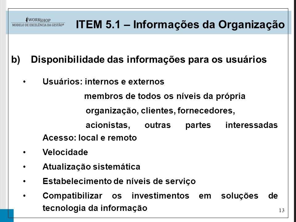 13 ITEM 5.1 – Informações da Organização b)Disponibilidade das informações para os usuários Usuários: internos e externos membros de todos os níveis d