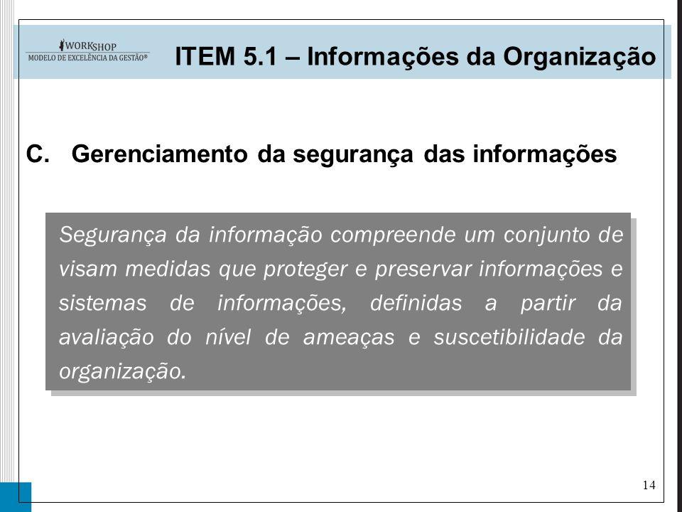 14 C.Gerenciamento da segurança das informações ITEM 5.1 – Informações da Organização Segurança da informação compreende um conjunto de visam medidas
