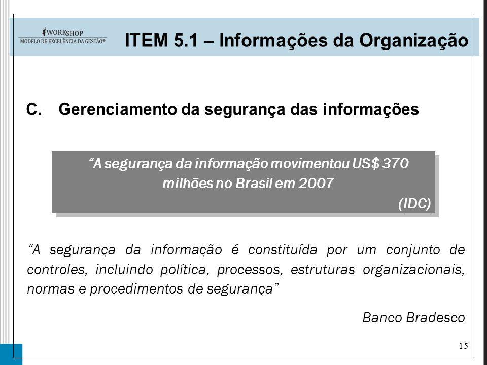 15 C.Gerenciamento da segurança das informações ITEM 5.1 – Informações da Organização A segurança da informação é constituída por um conjunto de contr
