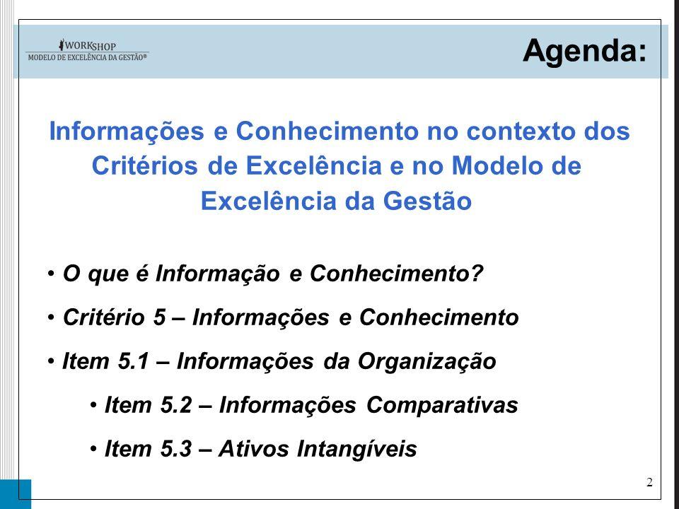 2 O que é Informação e Conhecimento? Critério 5 – Informações e Conhecimento Item 5.1 – Informações da Organização Item 5.2 – Informações Comparativas