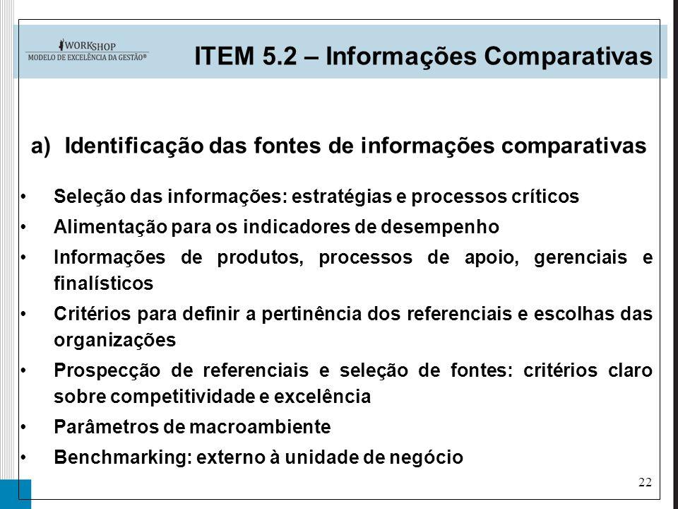 22 a)Identificação das fontes de informações comparativas ITEM 5.2 – Informações Comparativas Seleção das informações: estratégias e processos crítico