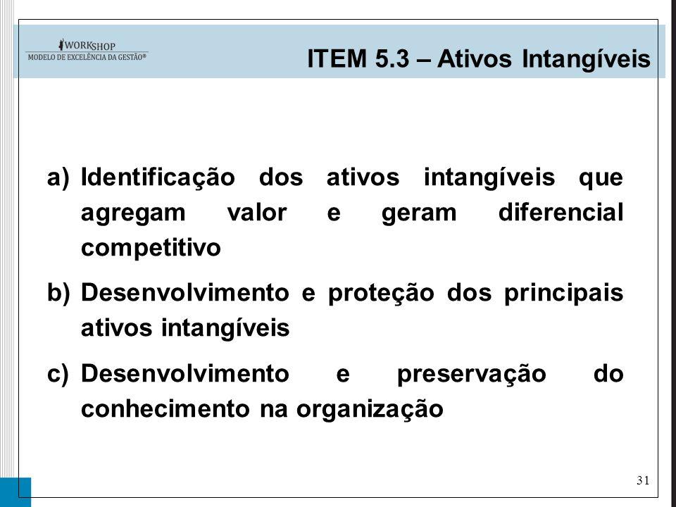 31 a)Identificação dos ativos intangíveis que agregam valor e geram diferencial competitivo b)Desenvolvimento e proteção dos principais ativos intangí