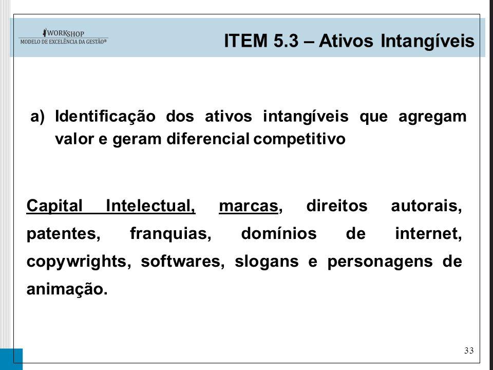 33 a)Identificação dos ativos intangíveis que agregam valor e geram diferencial competitivo ITEM 5.3 – Ativos Intangíveis Capital Intelectual, marcas,