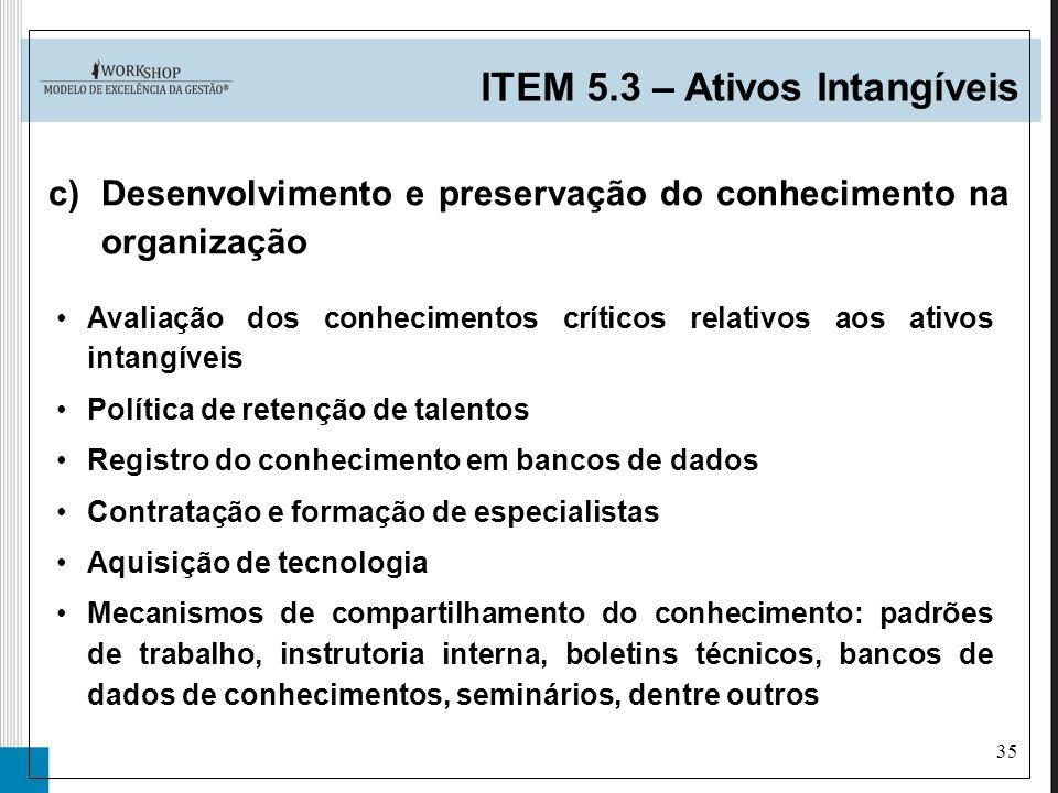 35 ITEM 5.3 – Ativos Intangíveis c)Desenvolvimento e preservação do conhecimento na organização Avaliação dos conhecimentos críticos relativos aos ati
