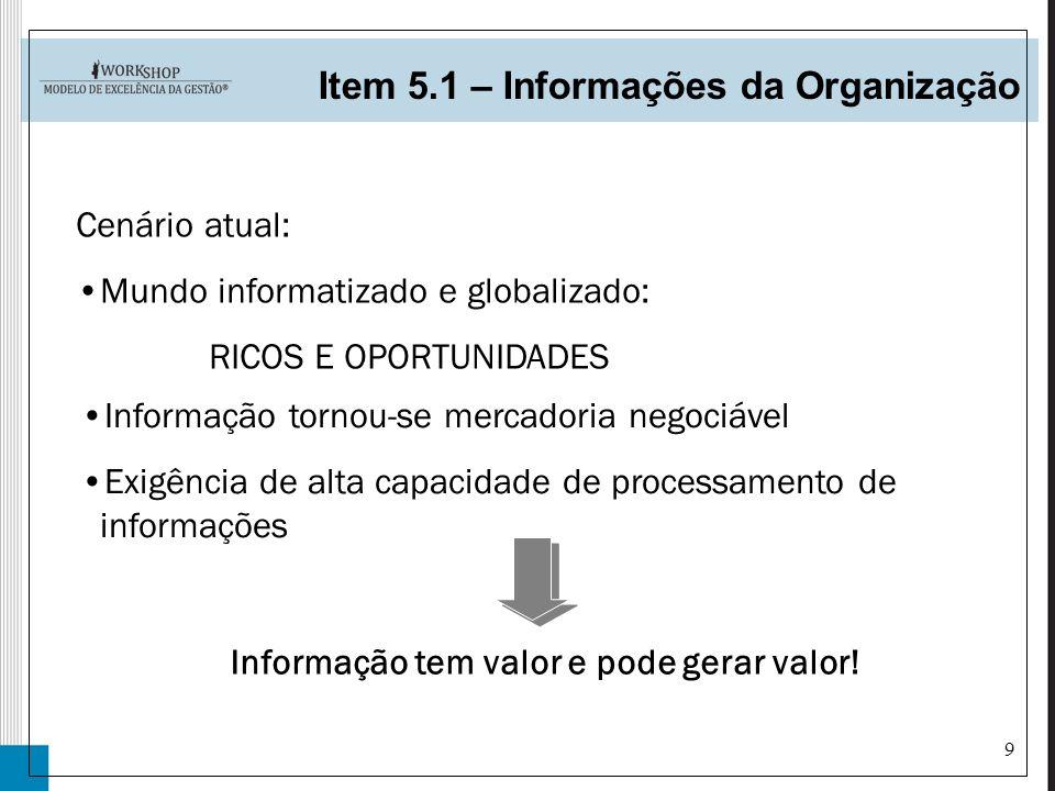 9 Item 5.1 – Informações da Organização Informação tornou-se mercadoria negociável Exigência de alta capacidade de processamento de informações Inform