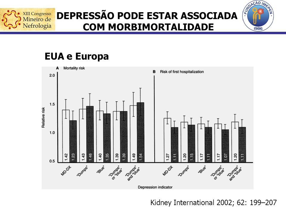 DEPRESSÃO PODE ESTAR ASSOCIADA COM MORBIMORTALIDADE Kidney International 2002; 62: 199–207 EUA e Europa