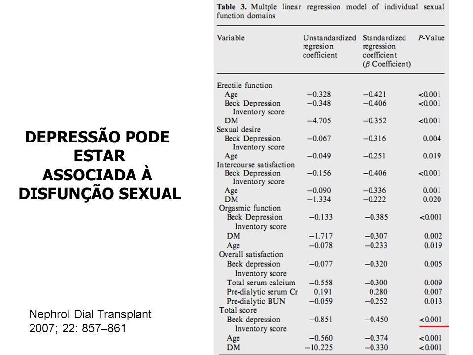 DEPRESSÃO PODE ESTAR ASSOCIADA À DISFUNÇÃO SEXUAL Nephrol Dial Transplant 2007; 22: 857–861