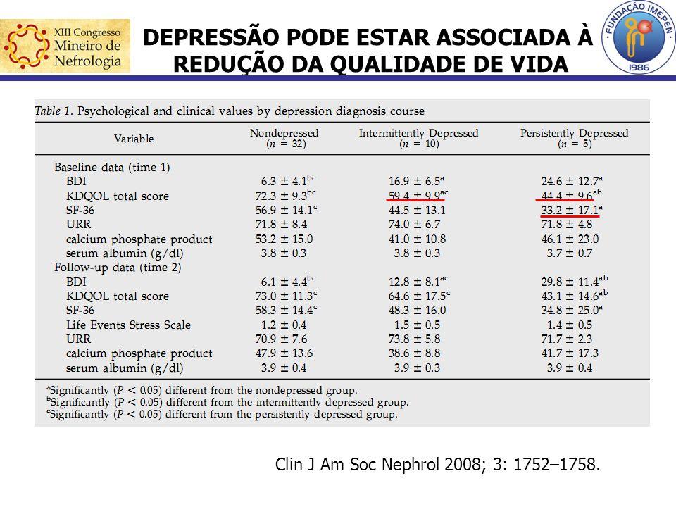 DEPRESSÃO PODE ESTAR ASSOCIADA À REDUÇÃO DA QUALIDADE DE VIDA Clin J Am Soc Nephrol 2008; 3: 1752–1758.