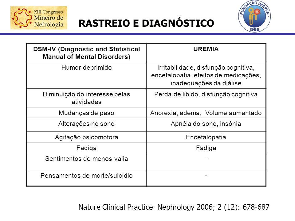 DSM-IV (Diagnostic and Statistical Manual of Mental Disorders) UREMIA Humor deprimidoIrritabilidade, disfunção cognitiva, encefalopatia, efeitos de me