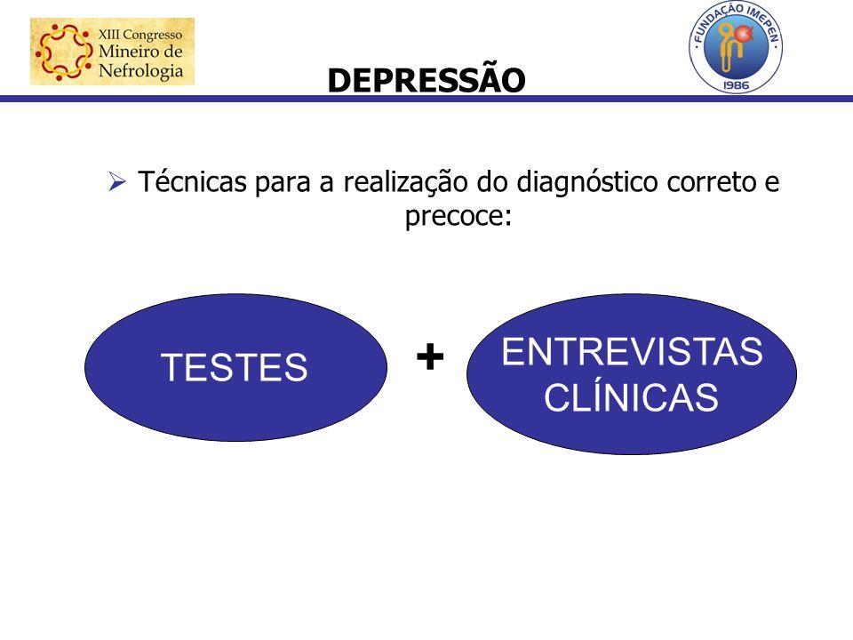 DEPRESSÃO Técnicas para a realização do diagnóstico correto e precoce: TESTES + ENTREVISTAS CLÍNICAS