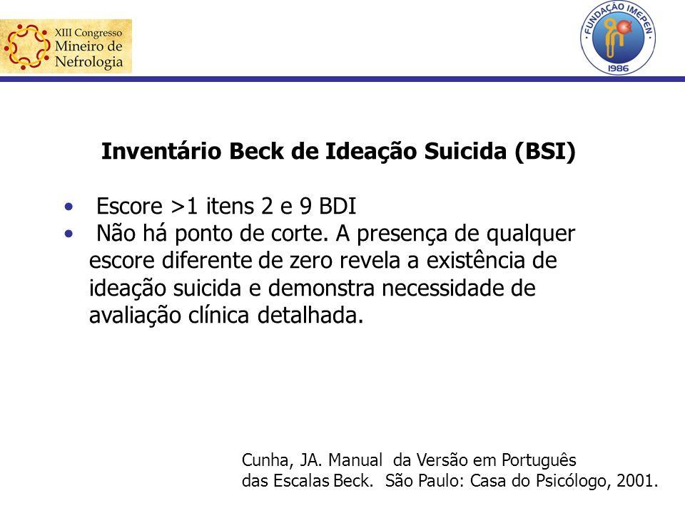 Inventário Beck de Ideação Suicida (BSI) Escore >1 itens 2 e 9 BDI Não há ponto de corte. A presença de qualquer escore diferente de zero revela a exi