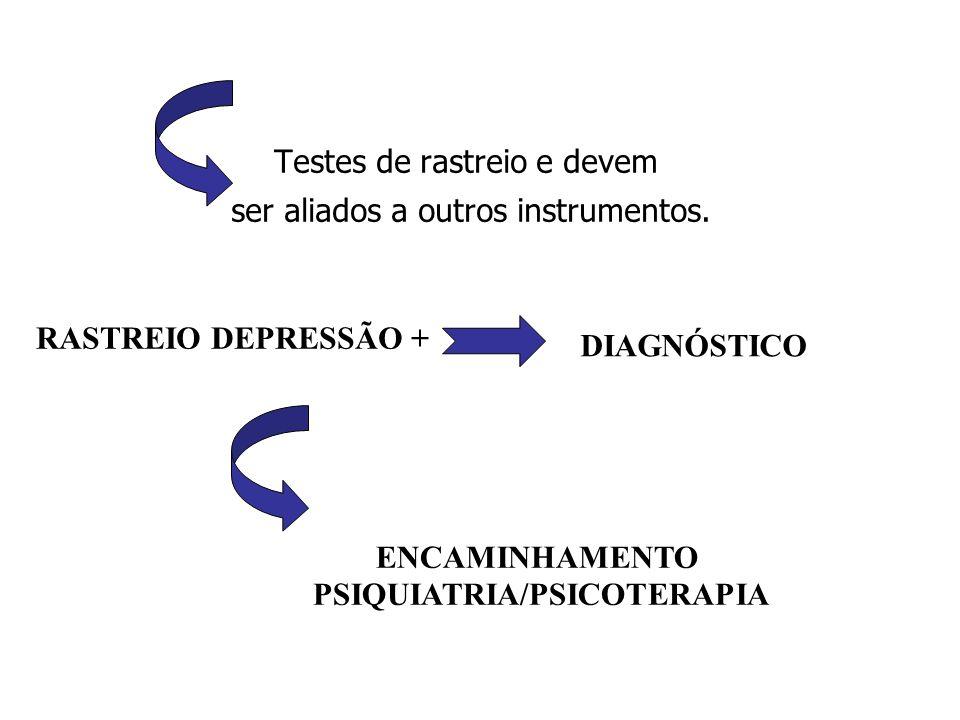 Testes de rastreio e devem ser aliados a outros instrumentos. RASTREIO DEPRESSÃO + ENCAMINHAMENTO PSIQUIATRIA/PSICOTERAPIA DIAGNÓSTICO