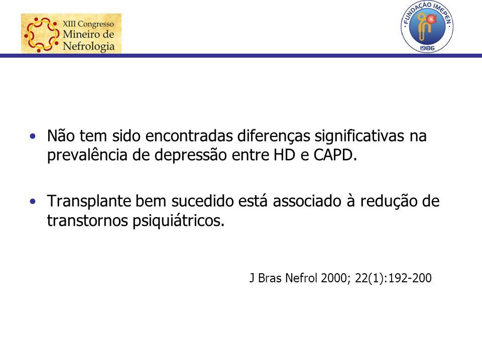 Não tem sido encontradas diferenças significativas na prevalência de depressão entre HD e CAPD. Transplante bem sucedido está associado à redução de t