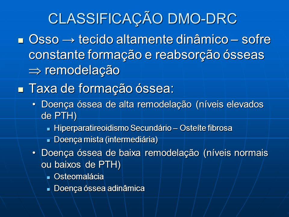 CLASSIFICAÇÃO DMO-DRC Osso tecido altamente dinâmico – sofre constante formação e reabsorção ósseas remodelação Osso tecido altamente dinâmico – sofre