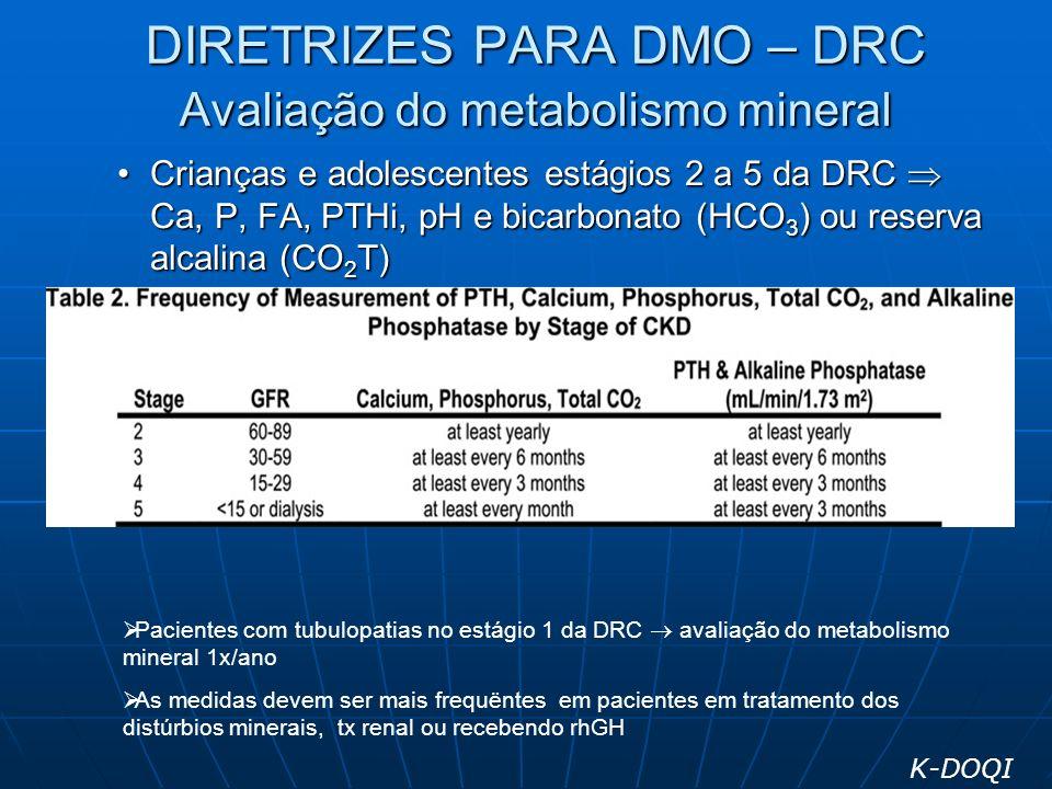 DIRETRIZES PARA DMO – DRC Avaliação do metabolismo mineral Crianças e adolescentes estágios 2 a 5 da DRC Ca, P, FA, PTHi, pH e bicarbonato (HCO 3 ) ou