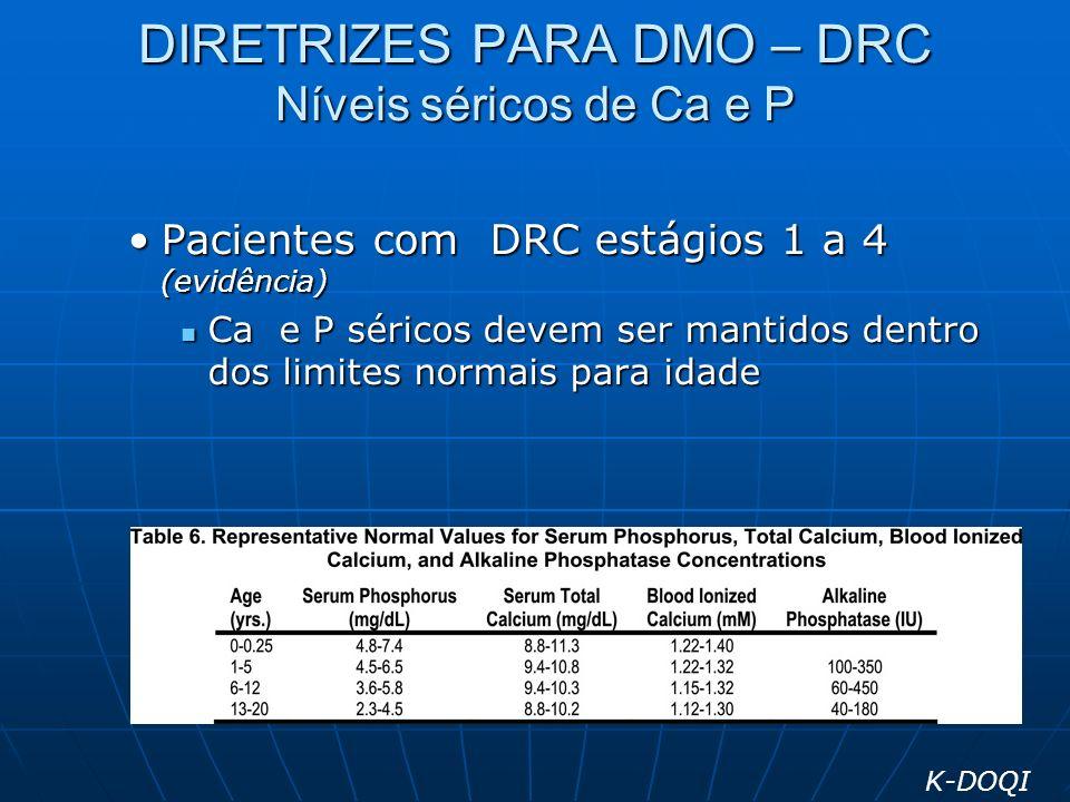 DIRETRIZES PARA DMO – DRC Níveis séricos de Ca e P Pacientes com DRC estágios 1 a 4 (evidência)Pacientes com DRC estágios 1 a 4 (evidência) Ca e P sér