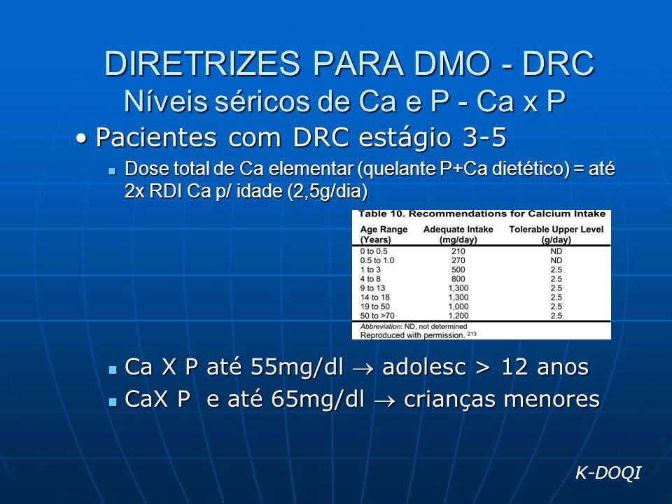 DIRETRIZES PARA DMO - DRC Níveis séricos de Ca e P - Ca x P DIRETRIZES PARA DMO - DRC Níveis séricos de Ca e P - Ca x P Pacientes com DRC estágio 3-5P