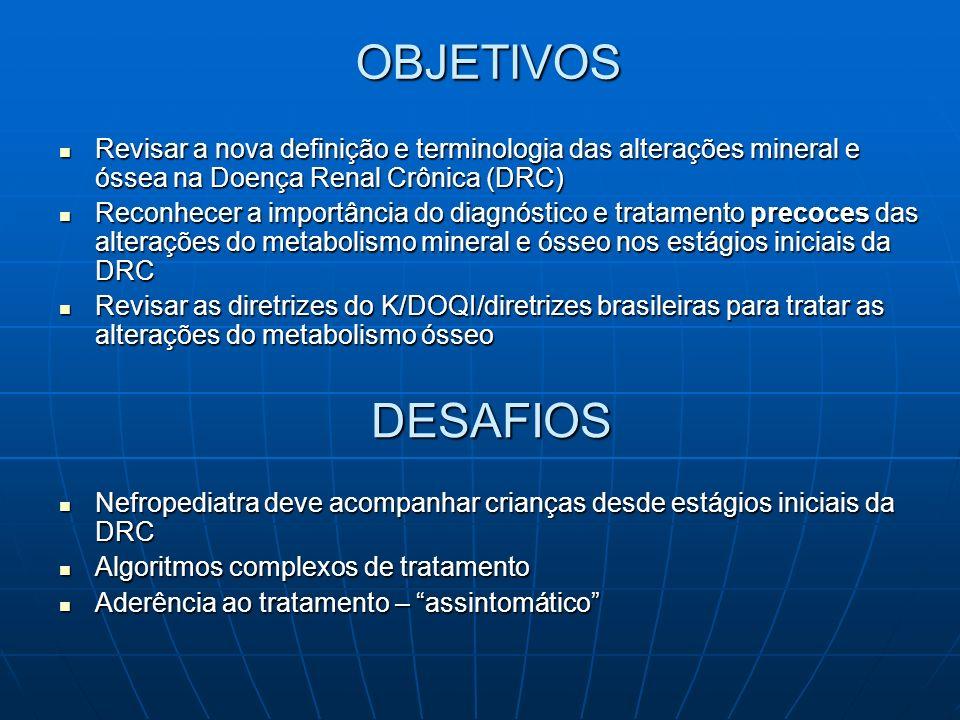 DIRETRIZES PARA DMO – DRC Avaliação do metabolismo mineral Crianças e adolescentes estágios 2 a 5 da DRC Ca, P, FA, PTHi, pH e bicarbonato (HCO 3 ) ou reserva alcalina (CO 2 T)Crianças e adolescentes estágios 2 a 5 da DRC Ca, P, FA, PTHi, pH e bicarbonato (HCO 3 ) ou reserva alcalina (CO 2 T) Pacientes com tubulopatias no estágio 1 da DRC avaliação do metabolismo mineral 1x/ano As medidas devem ser mais frequëntes em pacientes em tratamento dos distúrbios minerais, tx renal ou recebendo rhGH K-DOQI
