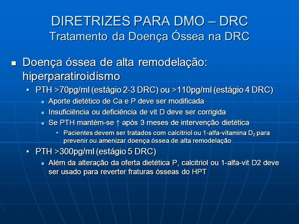 DIRETRIZES PARA DMO – DRC Tratamento da Doença Óssea na DRC Doença óssea de alta remodelação: hiperparatiroidismo Doença óssea de alta remodelação: hi