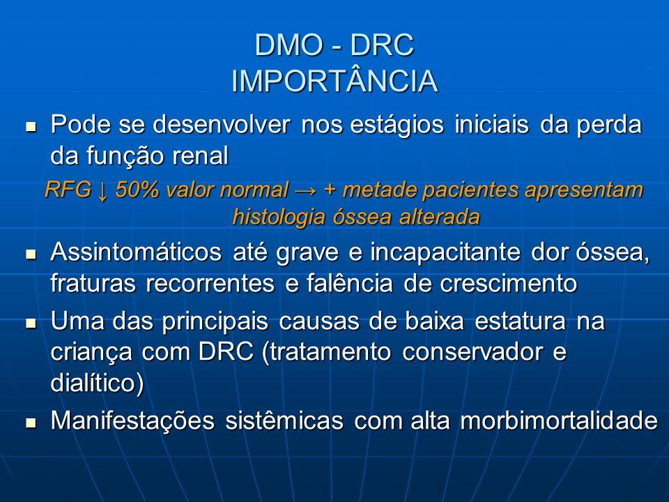 DIRETRIZES PARA DMO – DRC Níveis séricos de Ca e P Pacientes com DRC estágio 5 incluindo tratados com DP e HD (evidência)Pacientes com DRC estágio 5 incluindo tratados com DP e HD (evidência) Níveis de Ca total entre 8,8 a 9,7mg/dl Níveis de Ca total entre 8,8 a 9,7mg/dl Níveis de P 3,3-5,5mg/dl (adolescentes) e 4- 6mg/dl (1 a 12 anos) Níveis de P 3,3-5,5mg/dl (adolescentes) e 4- 6mg/dl (1 a 12 anos) HiperP comum em TFG<60ml/min/1,73m2 e pacientes em diálise crônica (evidência)HiperP comum em TFG<60ml/min/1,73m2 e pacientes em diálise crônica (evidência) HipoP como em tubulopatias perdedoras de P (cistinose, sínd de Fanconi)HipoP como em tubulopatias perdedoras de P (cistinose, sínd de Fanconi) Modificação dieta/suplementação oral de fosfato (evidência) K-DOQI