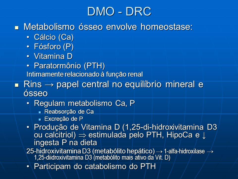 DIRETRIZES PARA DMO – DRC Estágios 5 DRC PTHi 300pg/ml Iniciar esterol vit D ativa (calcitriol) para PTHi 200-300pg/ml Ca e P séricos 1x/mês por 3 meses e após 3/3meses PTHi 3/3meses Se PTHi não + 30% após 3 m tratamento e Ca / P normais 50% dose inicial calcitriol Administração intermitente de calcitriol VO ou EV é + efetiva para PTH que doses diárias Considerar paratireoidectomia