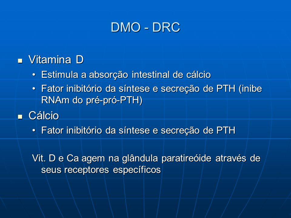 DIRETRIZES PARA DMO – DRC Concentração de Ca no dialisato Pacientes que recebem quelante P c/ Ca concentração Ca dialisato 2,5mEq/l Pacientes que recebem quelante P c/ Ca concentração Ca dialisato 2,5mEq/l Pacientes que não recebem quelante P c/ Ca concentração Ca dialisato 2,5-3,0mEq/l de acordo: Pacientes que não recebem quelante P c/ Ca concentração Ca dialisato 2,5-3,0mEq/l de acordo: Cálcio séricoCálcio sérico Necessidade de terapia com vit D ativaNecessidade de terapia com vit D ativa K-DOQI