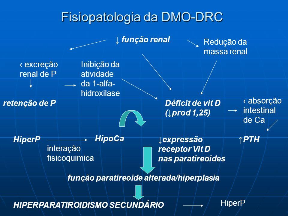 Fisiopatologia da DMO-DRC HipoCa e HiperP crônicas Estímulo para hiperplasia das paratireoides Caracterizam-se por reduzida expressão de receptores de Ca e Vit D Ficam menos responsivas à Ca e Vit D PIORA HPERPARATIROIDISMO SECUNDÁRIO osteodistrofiafraturascalcificaçãodoença cardiovascular morbimortalidade