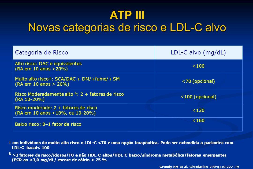 em indivíduos de muito alto risco o LDL-C <70 é uma opção terapêutica.