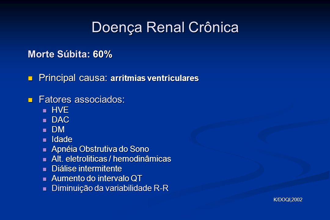 Doença Renal Crônica Morte Súbita: 60% Principal causa: arritmias ventriculares Principal causa: arritmias ventriculares Fatores associados: Fatores associados: HVE HVE DAC DAC DM DM Idade Idade Apnéia Obstrutiva do Sono Apnéia Obstrutiva do Sono Alt.