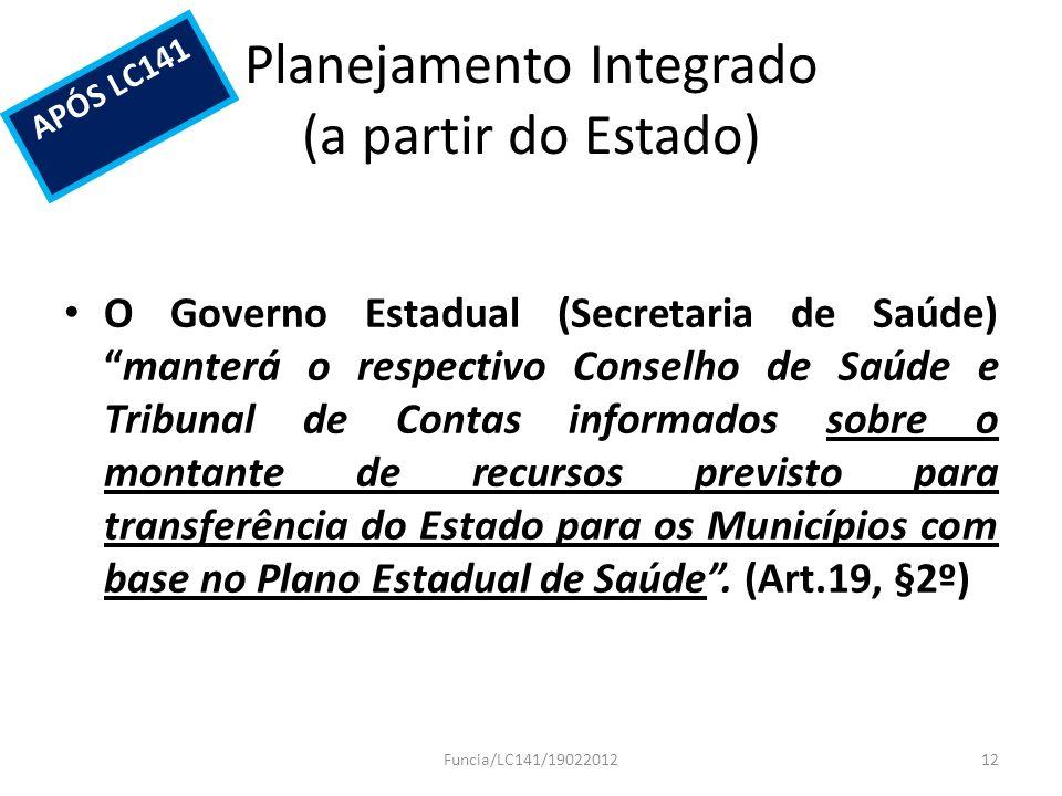 Planejamento Integrado (a partir do Estado) O Governo Estadual (Secretaria de Saúde)manterá o respectivo Conselho de Saúde e Tribunal de Contas inform