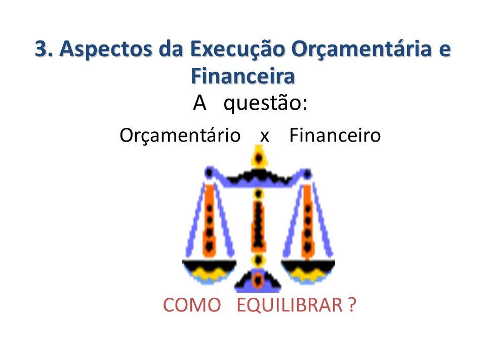 A questão: Orçamentário x Financeiro COMO EQUILIBRAR ? 3. Aspectos da Execução Orçamentária e Financeira