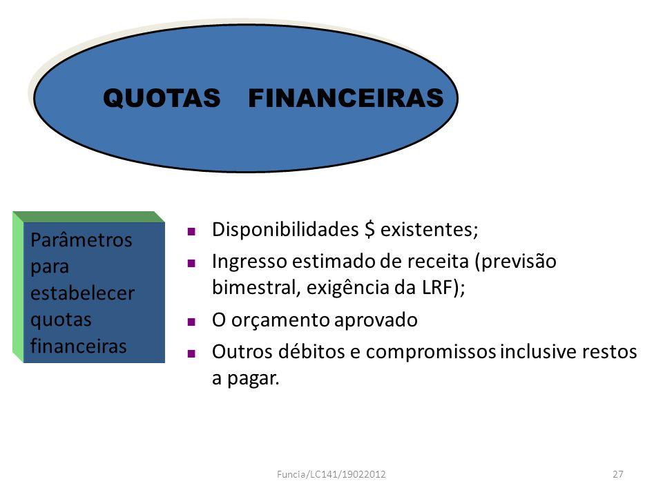 Parâmetros para estabelecer quotas financeiras QUOTAS FINANCEIRAS Disponibilidades $ existentes; Ingresso estimado de receita (previsão bimestral, exi