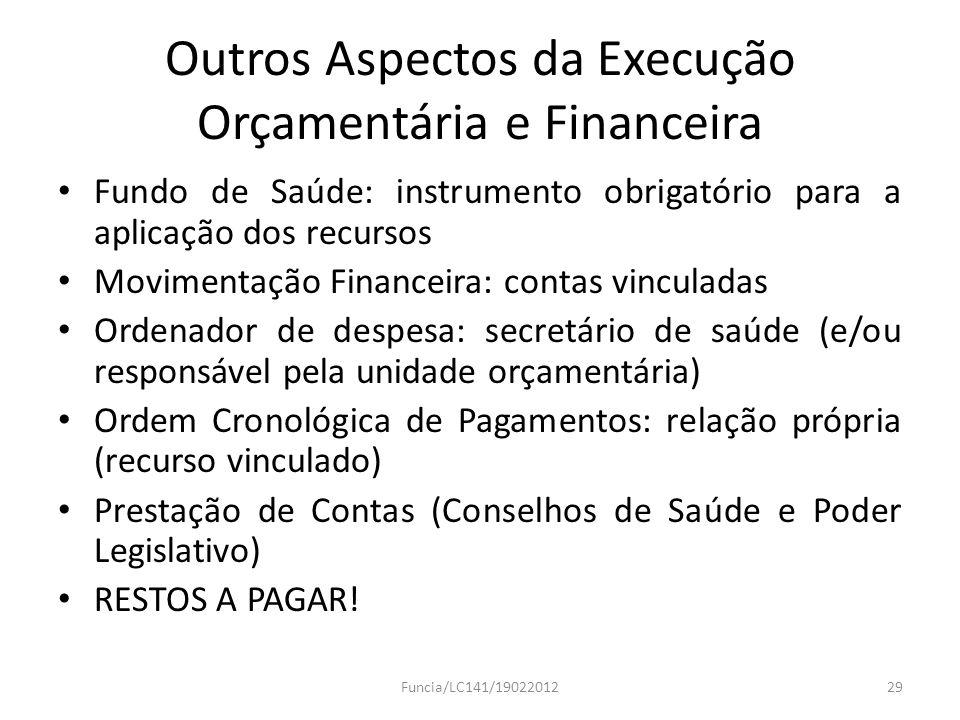Outros Aspectos da Execução Orçamentária e Financeira Fundo de Saúde: instrumento obrigatório para a aplicação dos recursos Movimentação Financeira: c