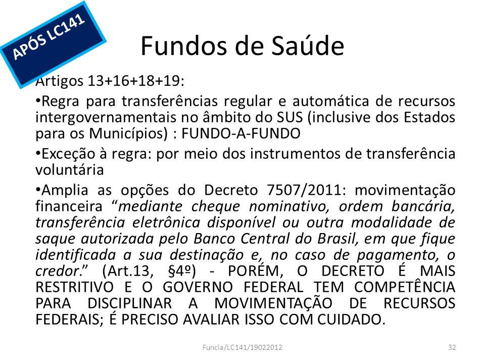 Fundos de Saúde Artigos 13+16+18+19: Regra para transferências regular e automática de recursos intergovernamentais no âmbito do SUS (inclusive dos Es