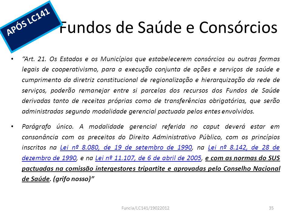 Fundos de Saúde e Consórcios Art. 21. Os Estados e os Municípios que estabelecerem consórcios ou outras formas legais de cooperativismo, para a execuç