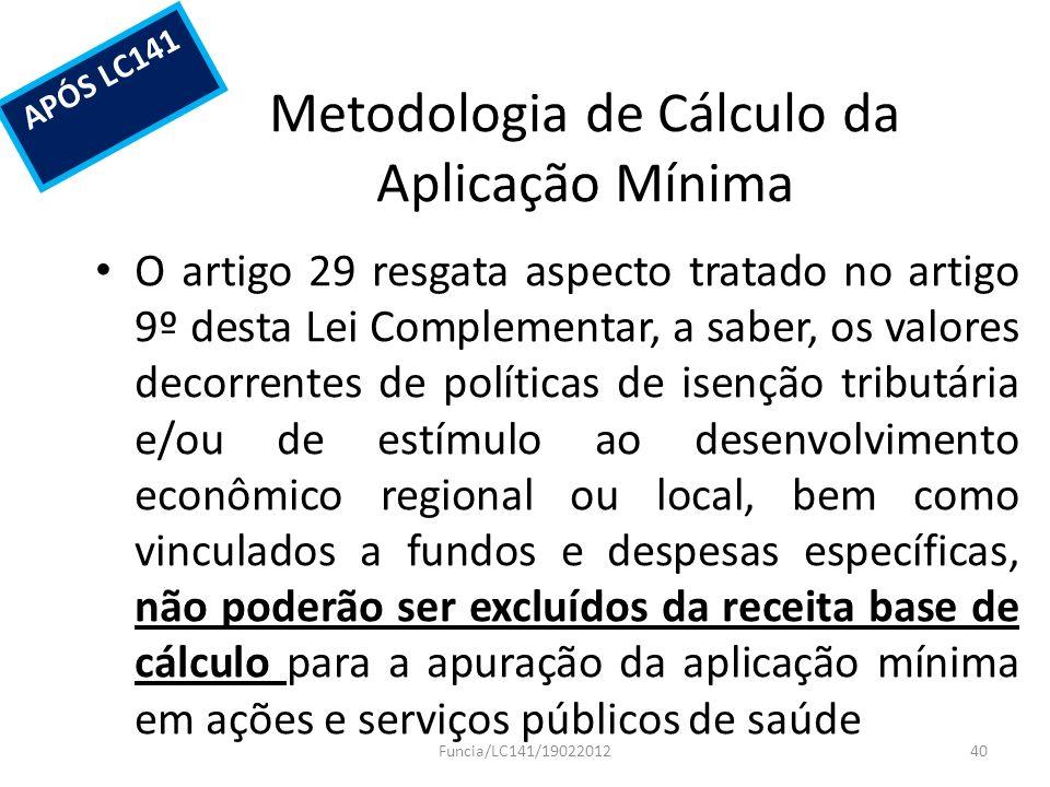 Metodologia de Cálculo da Aplicação Mínima O artigo 29 resgata aspecto tratado no artigo 9º desta Lei Complementar, a saber, os valores decorrentes de